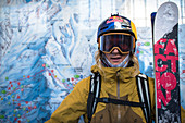 Portrait of skier in skiwear,  Monterosa Ski mountain resort in Gressoney, Aosta, Italy