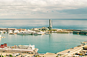 View of Barcelona harbor with cruise ships, Catalonia, Spain