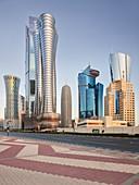 Skyscrapers, Majlis Al Taawon Street, West Bay, Diplomatic Area, Doha, Qatar
