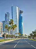Skyscrapers, Al Corniche Street, West Bay, Diplomatic Area, Doha, Qatar