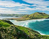 Allans Beach vom Sandymount Recreation Reserve, Otago, Südinsel, Neuseeland, Ozeanien