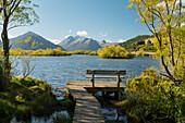 Bank an der Glenorchy Lagoon, Otago, Südinsel, Neuseeland, Ozeanien
