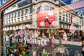 "Delicatessen Maille with mustard ""Rose de Provence"", reflection Galeries Lafayette, Art Nouveau facade, Dijon, Burgundy, France"