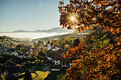 Sunny, idyllic scenic autumn view of townscape, Bad Kohlgrub, Bayern, Germany
