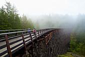 Kids running over railway trestle, British Columbia, Canada