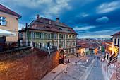 Street in old town of Sibiu, Romania