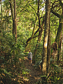 Frau im Wald in Nationalpark Myall Lakes, Australien