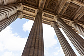 Columns and sculpted ceiling in Paris, France