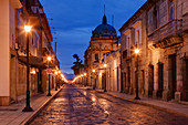 Street Lights on an Empty Street, Oaxaca, Mexico
