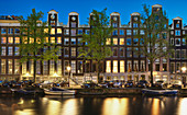 Cars and Canal-front Homes at Night, Amsterdam, Holland