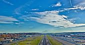 Airplane Landing On Runway, Seattle, Washington, USA