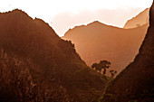 Cape Verde, Island Santo Antao, landscapes, mountains, green valley, sunset