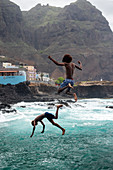 Cape Verde, Island Santo Antao, landscapes, mountains, coastline, boys diving\n\n\n\n\n\n\n\n