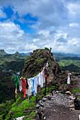 Cape Verde, Island Santiago, rain season , mountains, laundry drying