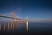 The Vasco da Gama bridge in Lisbon, Portugal at the blue hour