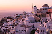 View of the windmills of Oia, Santorini, Greece