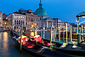 Venice gondolas in the blue hour, Italy