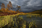 "Storm clouds at the lake ""Nearby"", Magadan oblast, Russia"