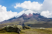 View of the 5900 meter high volcano Cotopaxi in Cotopaxi National Park, Ecuador