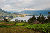 View from El Lechero Viewpoint to Lake San Pablo near Otavalo, Ecuador