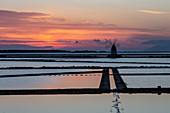 The salt mine of Marsala, Sicily at sunset