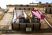 Typical sight when looking at the balconies in Palermo: clothesline