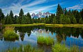 Berge reflektierten sich im Wasser, Schwabacher Landung, Grant Teton Range, Grand Teton Nationalpark, Wyoming