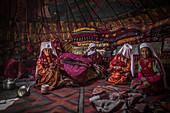 Kyrgyz women in a yurt, Afghanistan, Asia