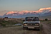 Car in Sary Mogul, Kyrgyzstan, Asia