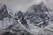 Berge im Schneesturm, Torres Del Paine, Nationalpark Torres Del Paine, Patagonia, Chile