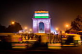 India Gate at night with Indian flag projected on it, New Delhi, India, Asia