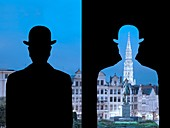 Magrittian reinterpretation of the Monts des Arts, inspired by the work of Magritte, La Decalcomanie, 1966, Brussels, Belgium, Europe