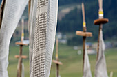 Prayer flags commemorating a deceased, imprinted with the mantra Om Mani Padme hum, in, Phobjikha Valley, Bhutan, Himalayas, Asia