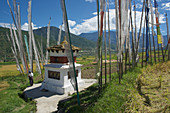 Tschörten between prayer flags and rice terraces at Chimi Lhakhang between Thimpu and Punaka, Bhutan, Himalayas, Asia