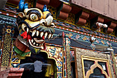 Horned mask at a house in Jakar, Bumthang Valley, Bhutan, Himalayas, Asia