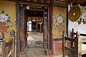 Gate to Thamshing Lhakhang in Bumthang Valley, Bhutan, Himalayas, Asia