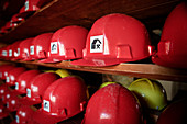 Visitor helmets, Pochwerk? Laundry IV ?, Mining Museum Altenberg, UNESCO World Heritage Montanregion Erzgebirge, Altenberg-Zinnwald, Saxony