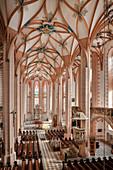 Central nave with cross-vault in Sankt Annenkirche, UNESCO World Heritage Montanregion Erzgebirge, Annaberg, Saxony