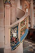 Stairway to the pulpit with pictured miner at work, Sankt Annenkirche, UNESCO World Heritage Montanregion Erzgebirge, Annaberg, Saxony