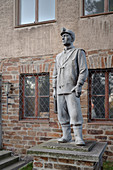 Bergmann figure in front of Technical University Bergakademie Freiberg, UNESCO World Heritage Montanregion Erzgebirge, Freiberg, Saxony