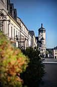 Blick zum Turm von Stadtkirche St Marien, historische Altstadt Marienberg, UNESCO Welterbe Montanregion Erzgebirge, Marienberg, Sachsen
