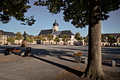 Market square, view to the tower of Stadtkirche St Marien, historic old town Marienberg, UNESCO World Heritage Montanregion Erzgebirge, Marienberg, Saxony
