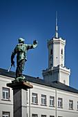 Bergmann figure in front of City Hall, Historic Old Town Schneeberg, UNESCO World Heritage Montanregion Erzgebirge, Schneeberg, Saxony