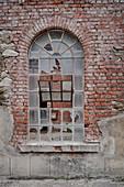 smashed windows, blue paint plant Schindler's work near Zschorlau, UNESCO World Heritage Montan region Erzgebirge, Schneeberg, Saxony