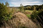 Stockpile, heath landscape at Wolfgang Ma? En treasure trove, UNESCO world heritage Montanregion Erzgebirge, Schneeberg, Saxony