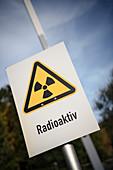 Warning sign Radioactive, UNESCO World Heritage Montanregion Erzgebirge, uranium ore mining, Saxony
