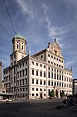 Town Hall at Augustusbrunnen, UNESCO World Heritage Historic Water Management, Augsburg, Bavaria, Germany