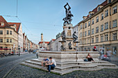Hercules fountain in Maximilian street, UNESCO world heritage historical water, Augsburg, Bavaria, Germany