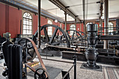 Engine room in the historic waterworks at the Hochablass, UNESCO World Heritage Historic Water Management, Augsburg, Bavaria, Germany