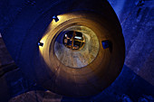 Turbine chamber in the power plant Langweid (Lechmuseum Bayern), UNESCO world heritage historical water management, Augsburg, Bavaria, Germany
